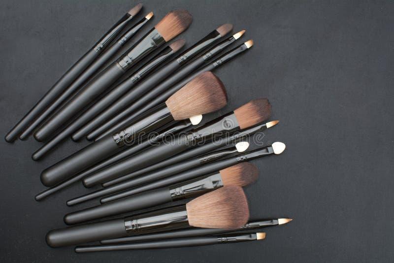 Makeup brushes set stock photography