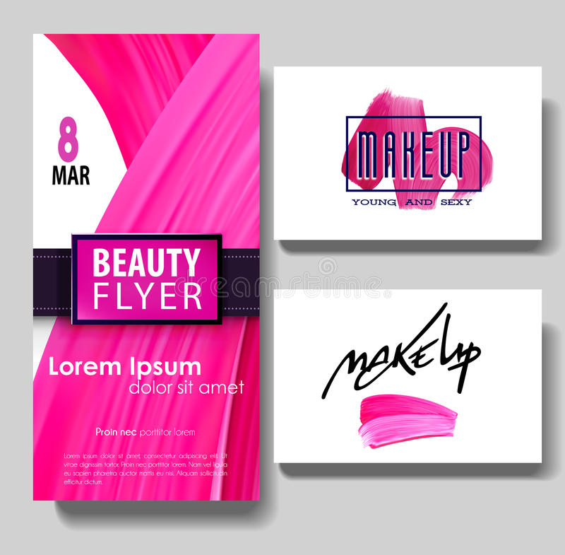 Makeup Business Card. Make Up Letters And Lipstick Mark Texture ...