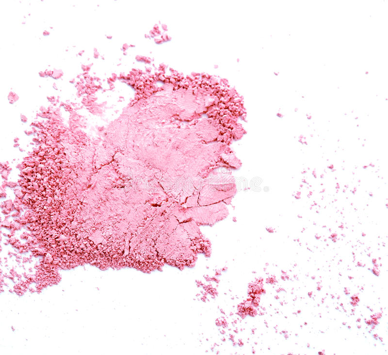 Makeup cheeks and eye. Pink Cosmetic powder on white background royalty free stock photography