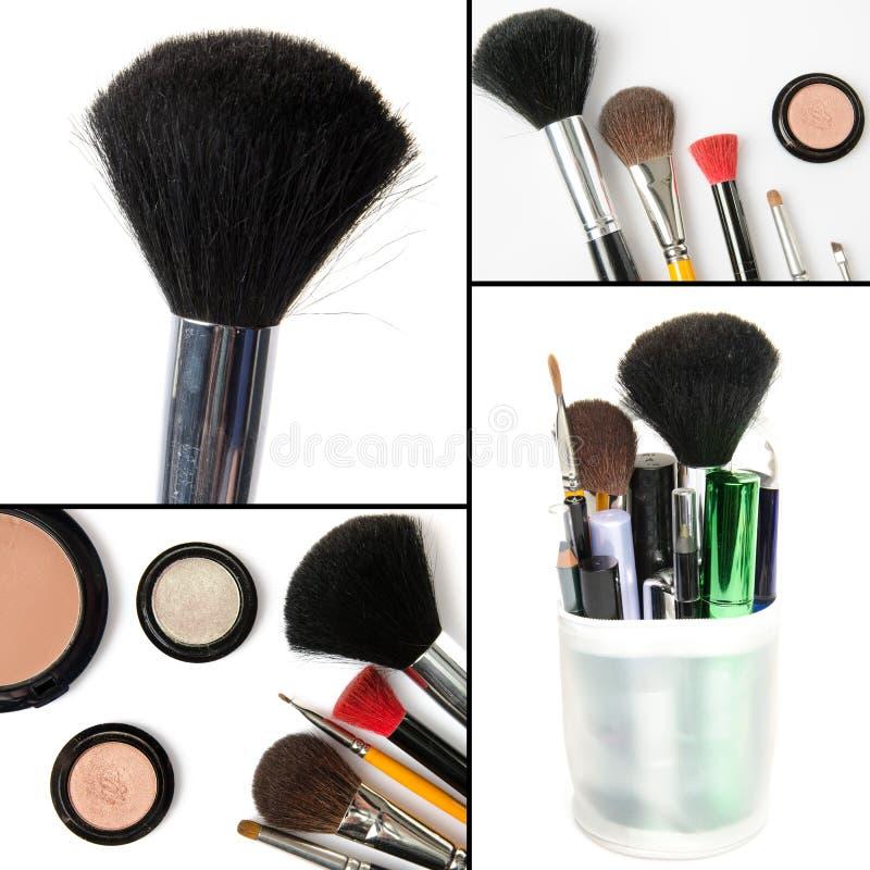 Makeup collage, brushes, eyeshadows, mascara. Isolated on white royalty free stock photos