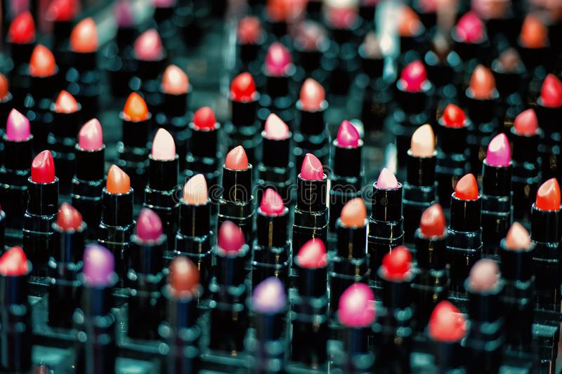 Makeup colorful lipsticks royalty free stock images