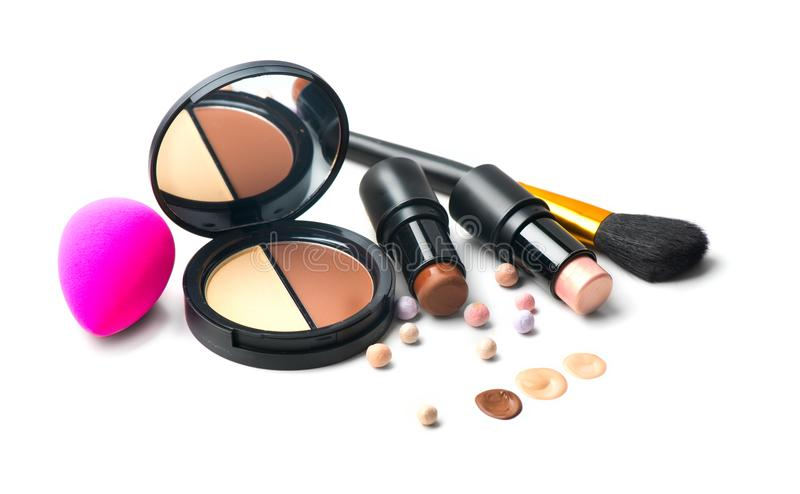Makeup contour products, make up artist tools. Face contouring make-up. Highlight, shade, contour and blend. Trendy makeover royalty free stock photo