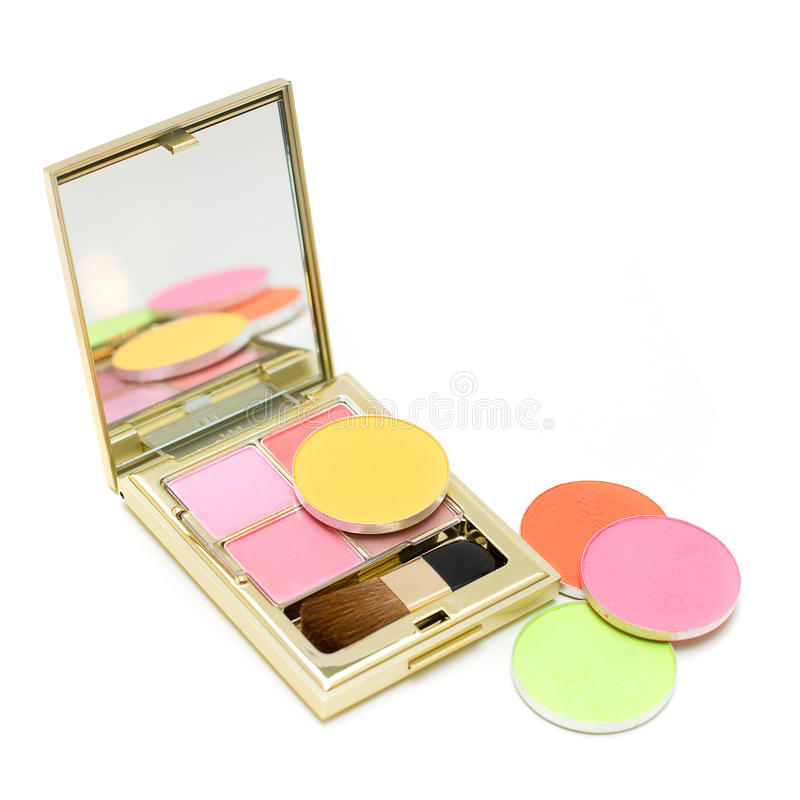 Makeup cosmetic - blush and eye shadow stock images