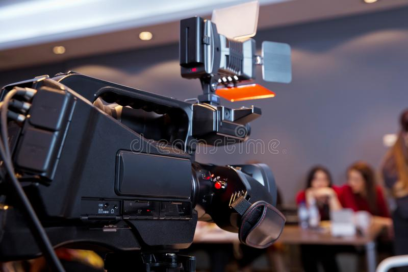 In front of the camera to recording vlog video live streaming at home.Business online influencer on social media concept. Makeup cosmetic at home. Focus on royalty free stock photography