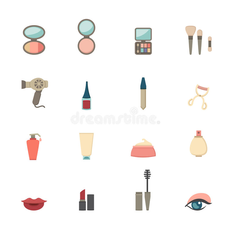 Makeup Cosmetic icons royalty free illustration