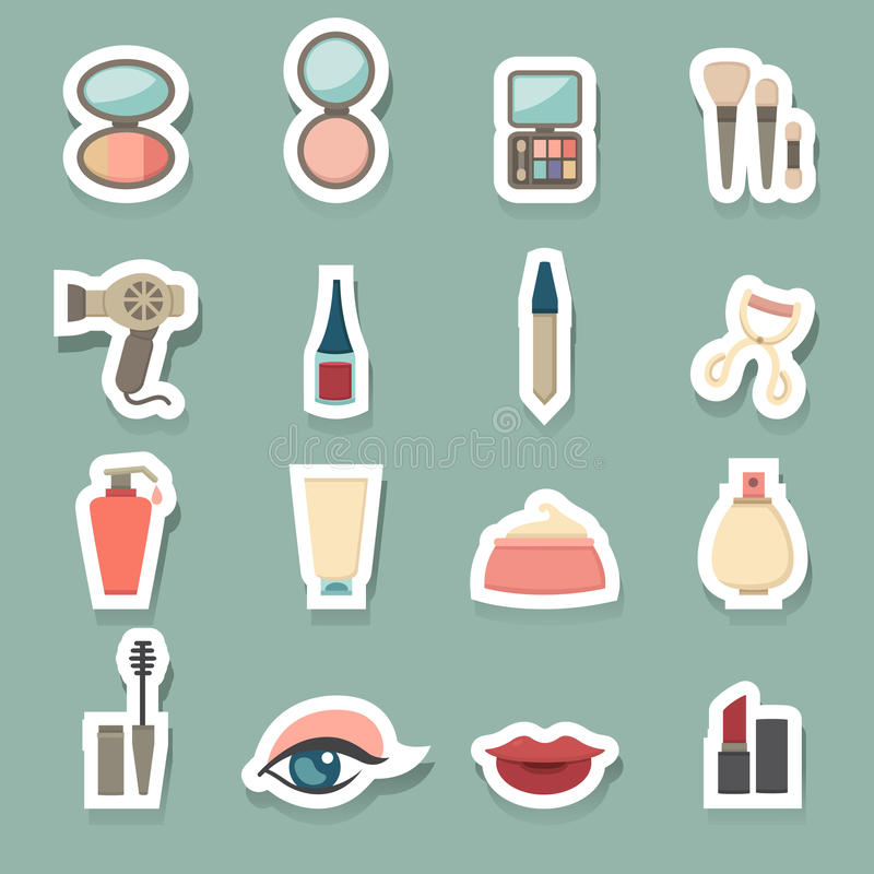 Makeup Cosmetic icons set. Illustration of makeup cosmetic icons set vector illustration