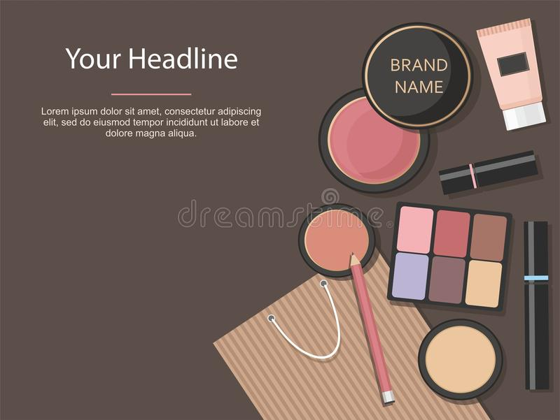 Makeup cosmetics set. Various beauty products isolated on brown background. stock illustration