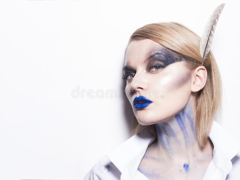 Makeup cosmetics and skincare. girl with fashion makeup. Happy halloween, copy space. woman with mystery stock photo