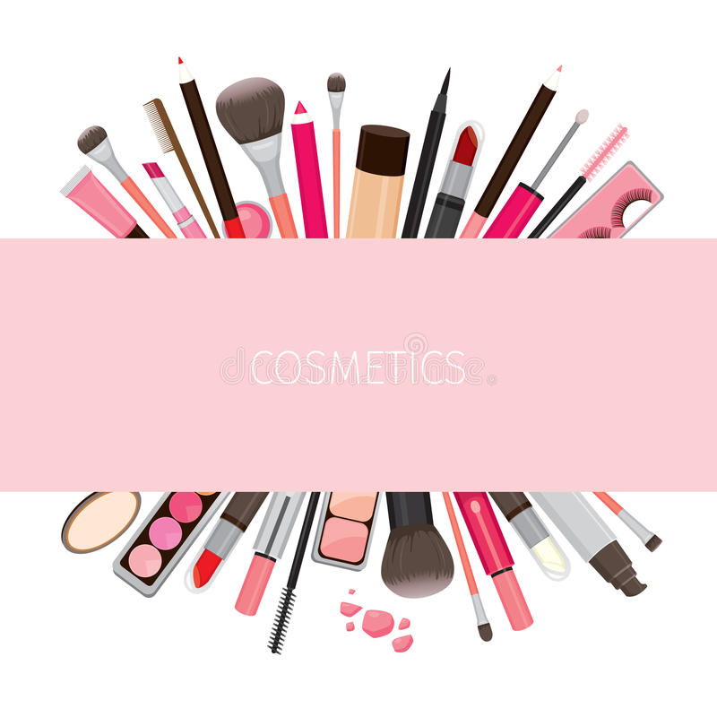 Makeup Cosmetics Tools On Banner Stock Vector Illustration Of Cosmetic Beauty 87740607