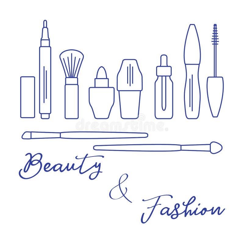 makeup Dekorativa skönhetsmedel, skönhetsmedelolja royaltyfri illustrationer