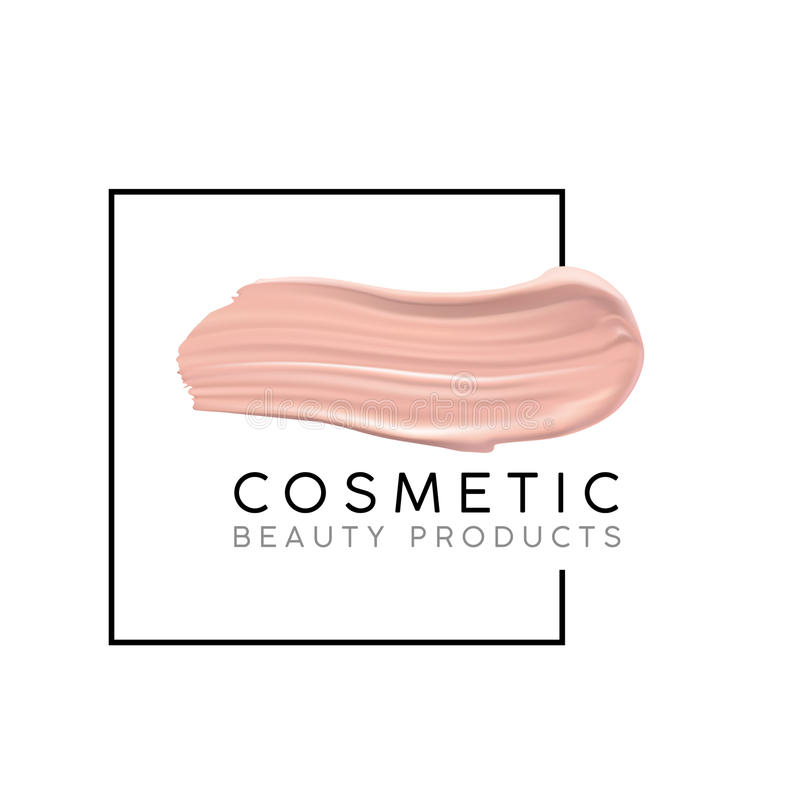 Makeup design template with place for text. Cosmetic Logo concept of liquid foundation and lipstick smear strokes. Makeup design template with place for text stock illustration