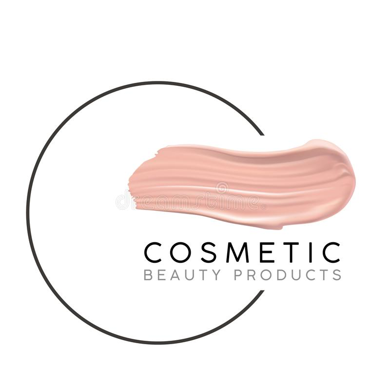 Makeup design template with place for text. Cosmetic Logo concept of liquid foundation and lipstick smear strokes. royalty free illustration