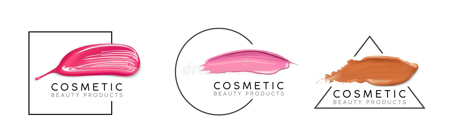 Makeup design template with place for text. Cosmetic Logo concept of liquid foundation, nail polish and lipstick smear stock illustration