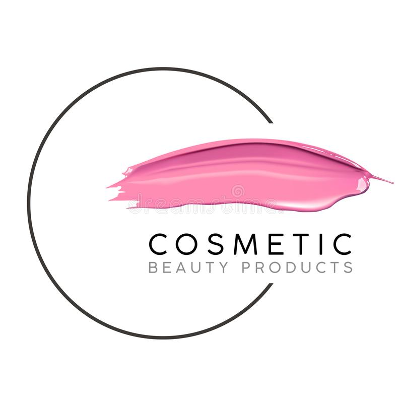 Makeup design template with place for text. Cosmetic Logo concept of liquid nail polish and lipstick smear strokes. Makeup design template with place for text vector illustration