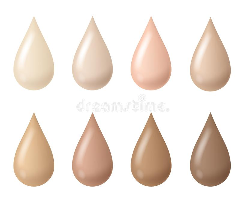 Makeup drops. Woman liquid bb cream foundation beige tints, cosmetic skin fluid tones, creamy texture droplets. Vector stock illustration