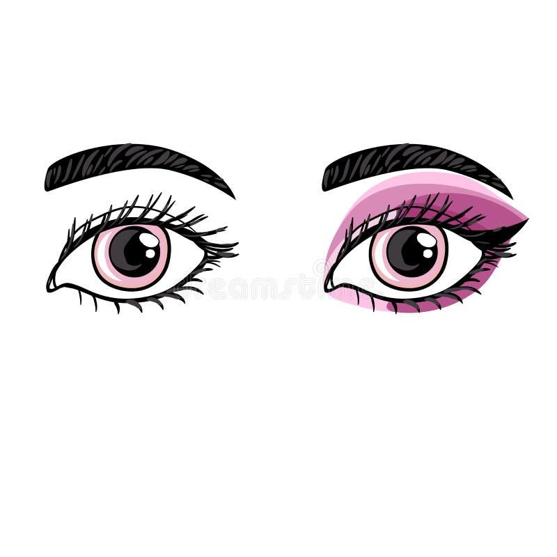 Makeup för öga för vektorhandteckning kvinnlig före och efter stock illustrationer