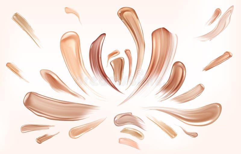 Makeup för skönhet för slaglängder för borste för hudfundamentsudd royaltyfri illustrationer