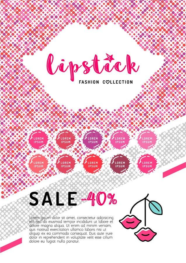 Makeup för vektorskönhetreklamblad A4 och läppstiftaffischskönhetsmedel vektor illustrationer