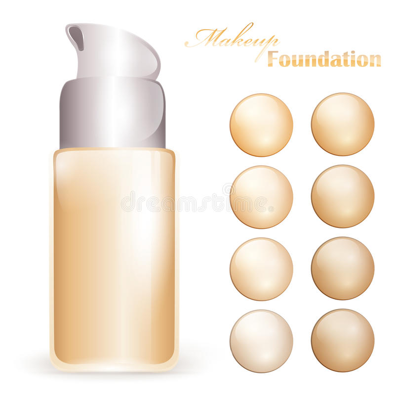 Makeup foundation. Bottle with colors pallet royalty free illustration
