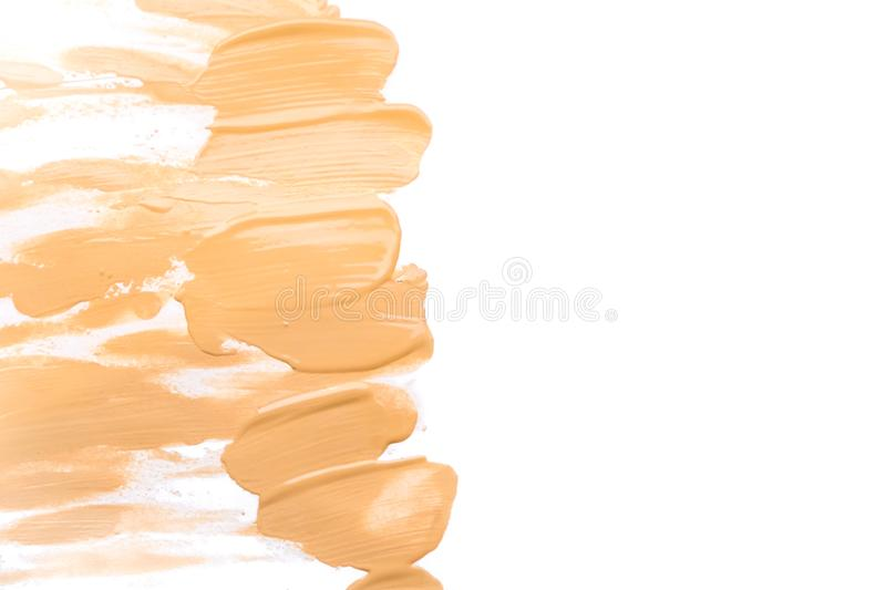 Makeup foundation blur cream isolated background. Top view collage corrective tonal base. Macro Tonal skin tone. skin. Makeup foundation blur cream isolated stock photography