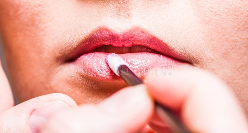 Download Makeup. Girl Applying Lipgloss Lipstick On Lips. Part Of Face. Stock Image - Image of pink, beautician: 39507463