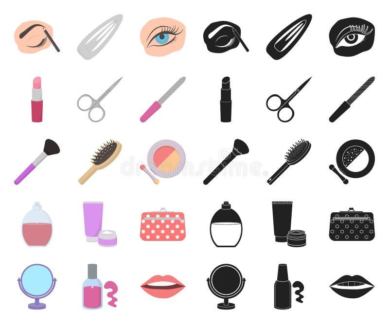 Makeup i kosmetyk kreskówka, czarne ikony w ustalonej kolekcji dla projekta Makeup i wyposażenie symbolu zapasu wektorowa sieć ilustracji