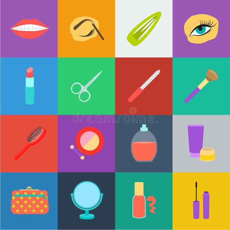 Makeup i kosmetyk kreskówki ikony w ustalonej kolekci dla projekta Makeup i wyposażenie symbolu zapasu wektorowa sieć ilustracja wektor
