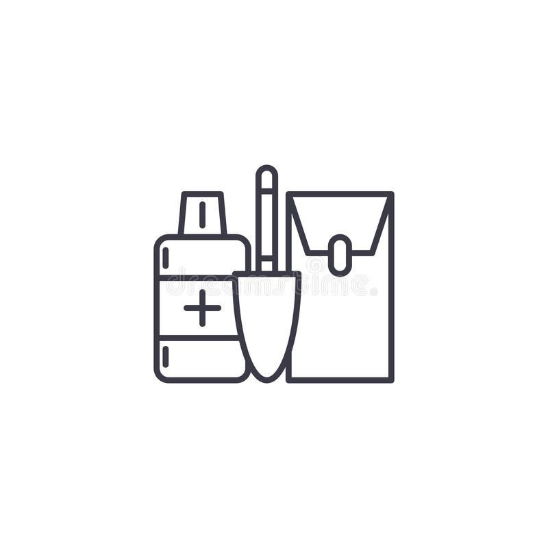 Makeup kit linear icon concept. Makeup kit line vector sign, symbol, illustration. vector illustration
