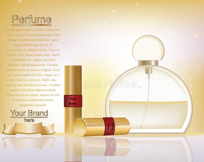 Makeup kosmetyki i pachnidło reklam szablon Złocisty pomadki mockup z iskrzastym tłem Powabnych warg złoty urok royalty ilustracja