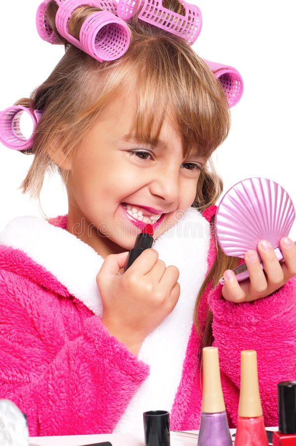 Download Makeup little girl stock photo. Image of leisure, hairstyle - 27942560