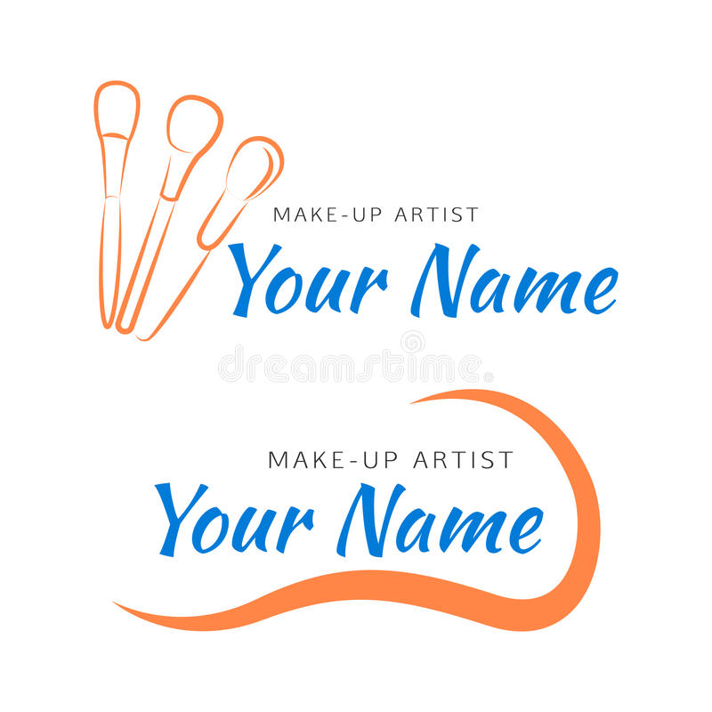 Makeup logo with brush and curved line. royalty free illustration
