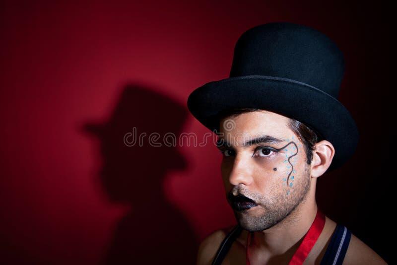 Download Makeup on man in top hat stock photo. Image of lbgt, mystical - 17140542
