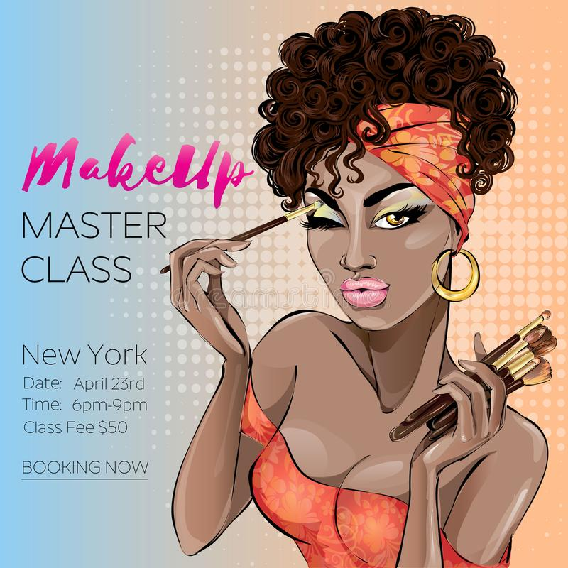 Makeup master class banner with beautiful brown skin tone woman, modern pin up style. Pop-art beauty brown lady with curly hair ap stock illustration