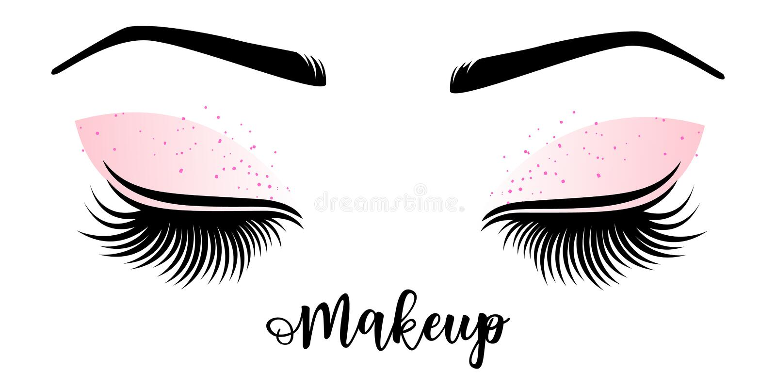 Makeup master logo. Vector illustration of lashes and brow. vector illustration
