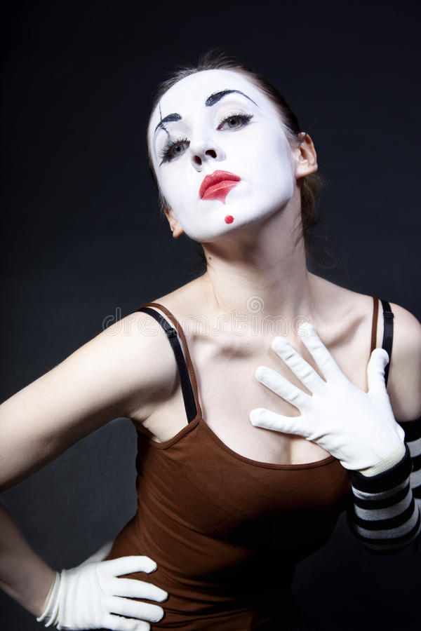 makeup mime θεατρική γυναίκα στοκ εικόνα με δικαίωμα ελεύθερης χρήσης
