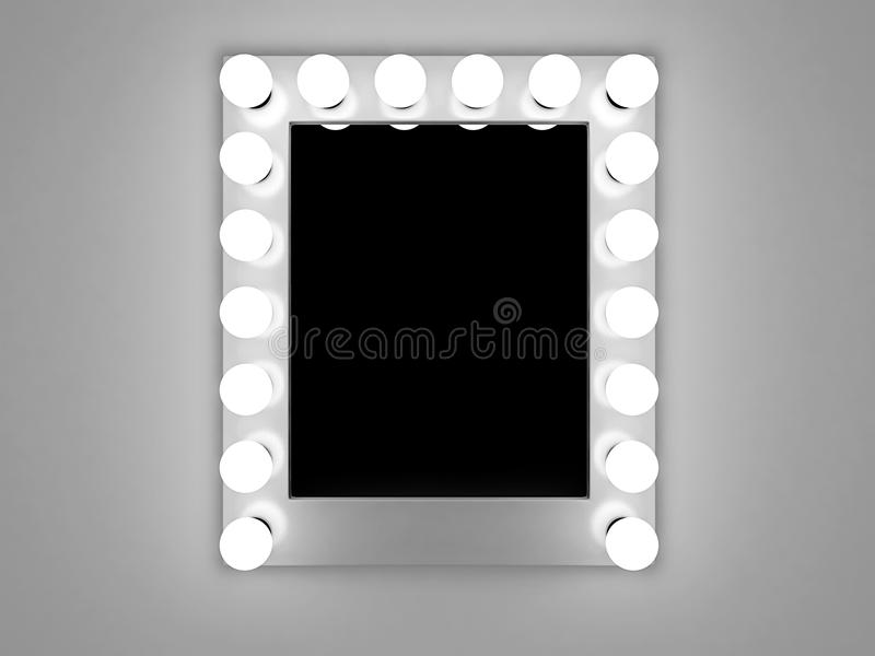 Makeup mirror. 3d illustration of mirror with bulbs for makeup