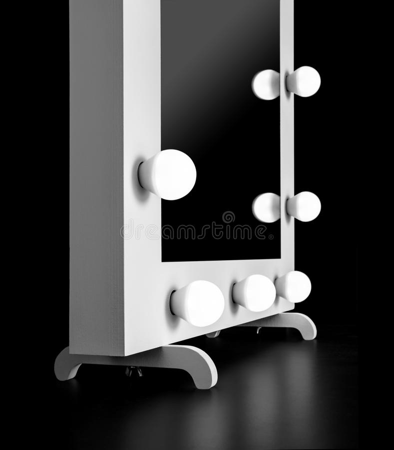 Makeup mirror with bulbs stock images