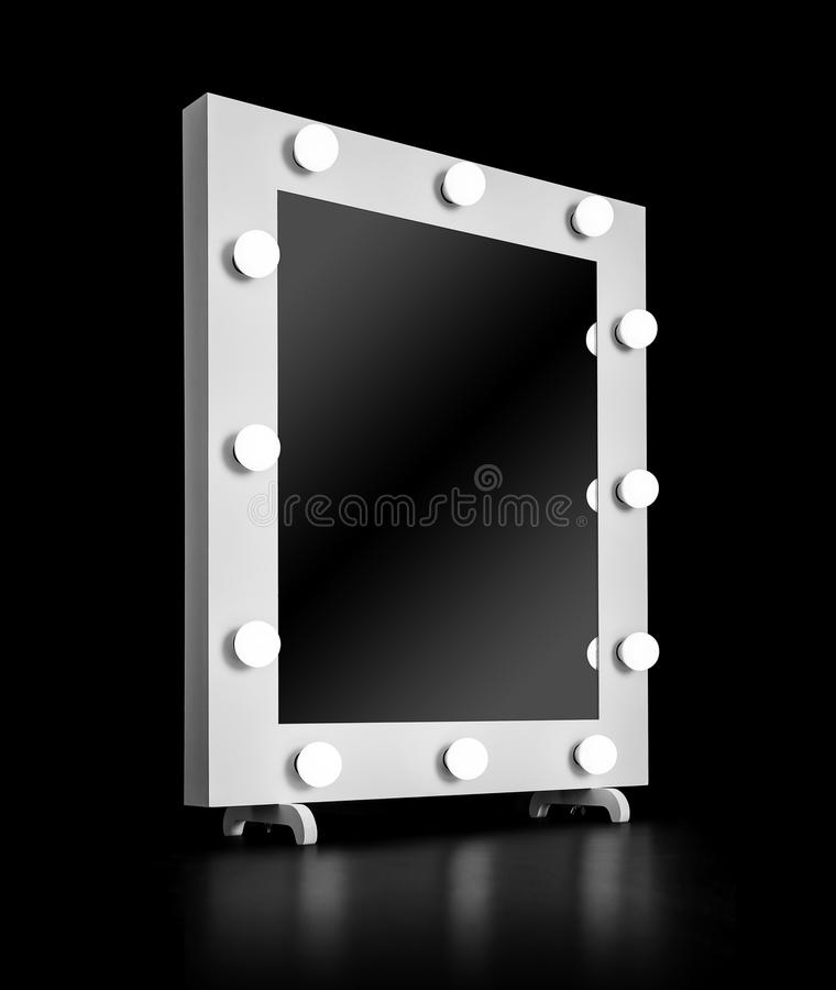 Makeup mirror with bulbs royalty free stock photo