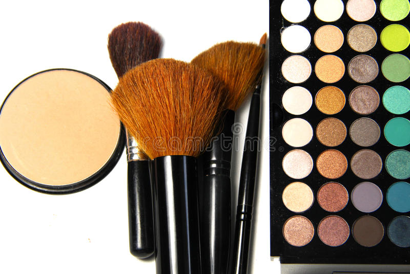 Makeup muśnięcia i paleta zdjęcie stock