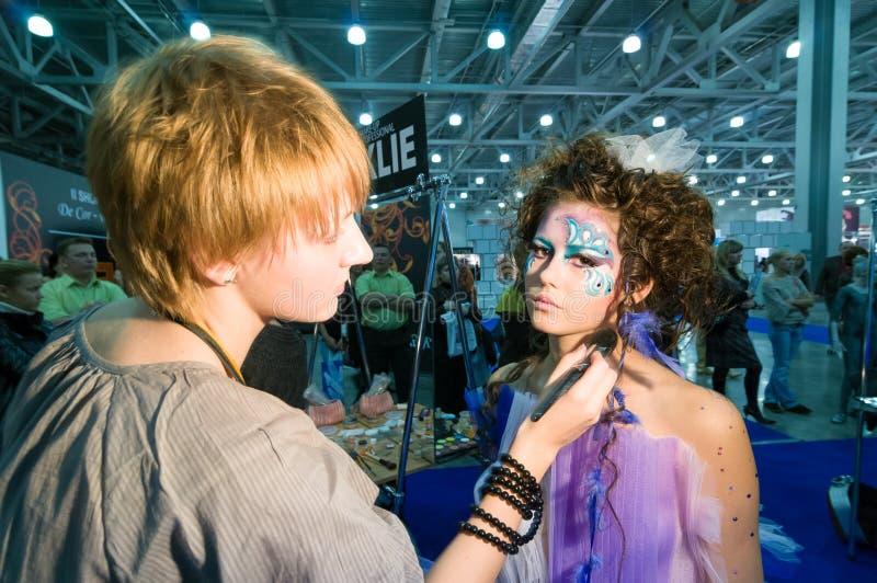 Makeup och hårkonstnärkonkurrens royaltyfri fotografi