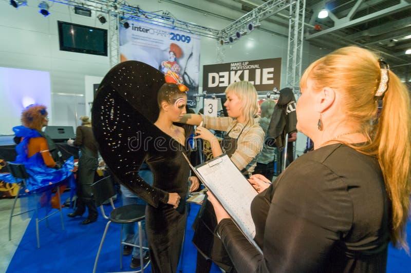 Makeup och hårkonstnärkonkurrens fotografering för bildbyråer