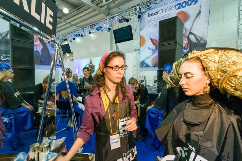 Makeup och hårkonstnärkonkurrens arkivbilder