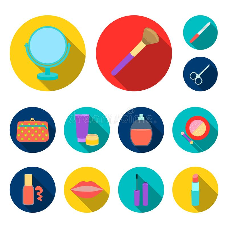 Makeup och skönhetsmedel sänker symboler i uppsättningsamlingen för design Makeup och utrustningvektorsymbolet lagerför rengöring stock illustrationer