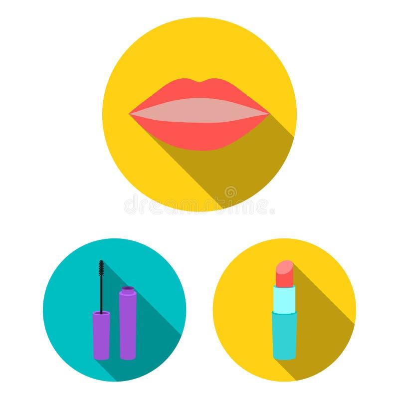 Makeup och skönhetsmedel sänker symboler i uppsättningsamlingen för design Makeup och utrustningvektorsymbolet lagerför rengöring royaltyfri illustrationer