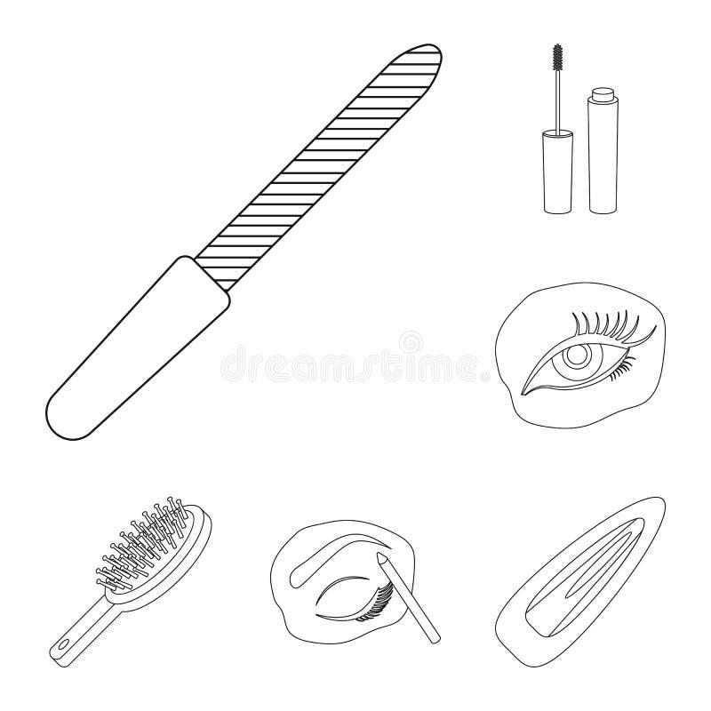 Makeup och skönhetsmedel skisserar symboler i uppsättningsamlingen för design Makeup och rengöringsduk för materiel för utrustnin vektor illustrationer