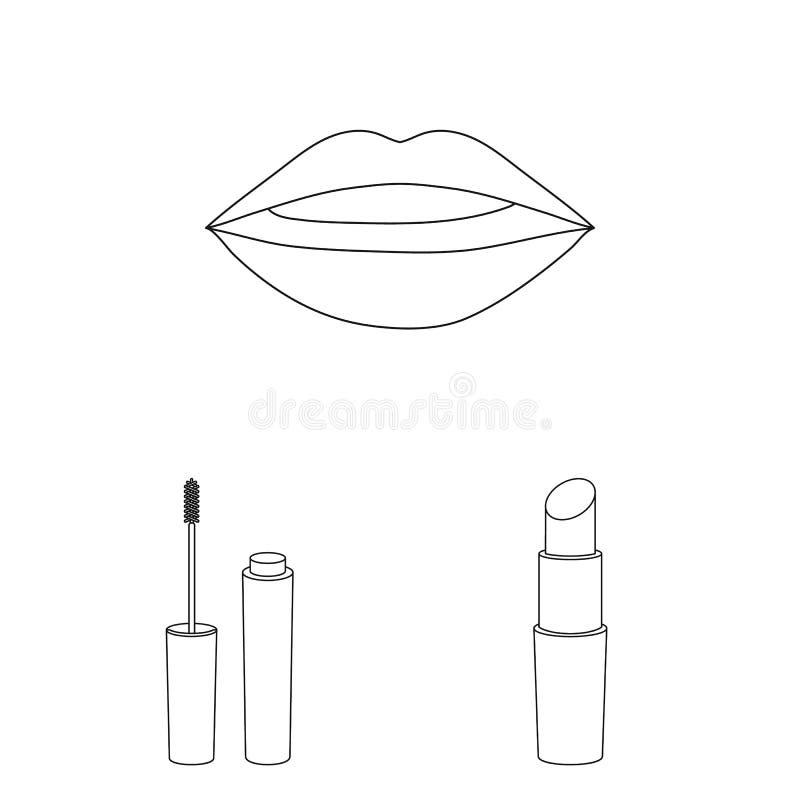 Makeup och skönhetsmedel skisserar symboler i uppsättningsamlingen för design Makeup och rengöringsduk för materiel för utrustnin stock illustrationer