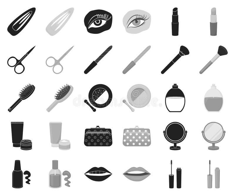 Makeup och skönhetsmedel svärtar, monokromma symboler i den fastställda samlingen för design Makeup och rengöringsduk för materie stock illustrationer