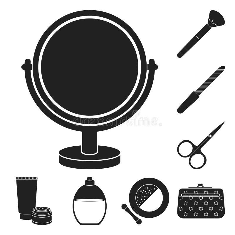 Makeup och skönhetsmedel svärtar symboler i uppsättningsamlingen för design Makeup och utrustningvektorsymbolet lagerför rengörin stock illustrationer