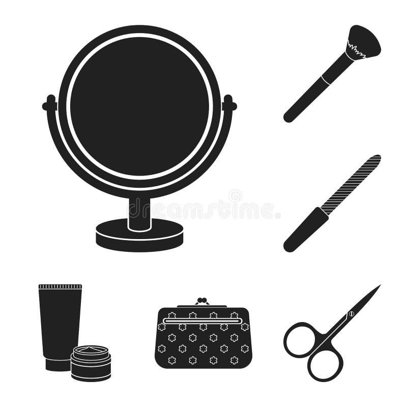 Makeup och skönhetsmedel svärtar symboler i uppsättningsamlingen för design Makeup och utrustningvektorsymbolet lagerför rengörin vektor illustrationer