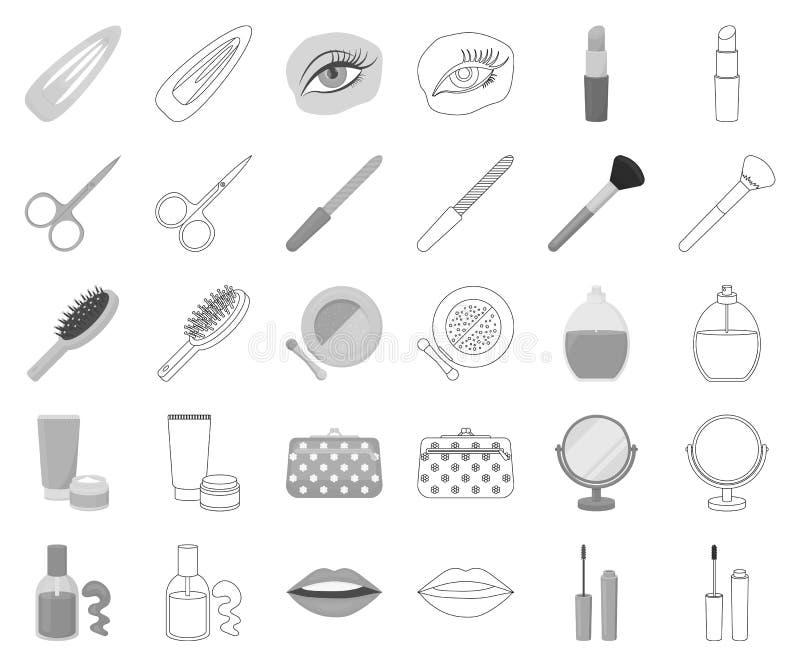 Makeup och skönhetsmedelmonokrom, översiktssymboler i den fastställda samlingen för design Makeup och rengöringsduk för materiel  royaltyfri illustrationer